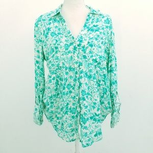 Anthro Maeve Green Floral Islet Button Down Shirt